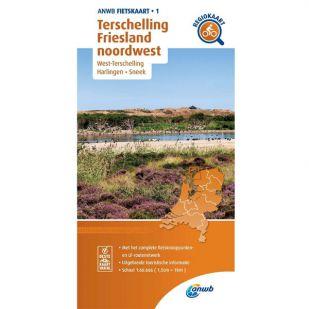 ANWB Regiokaart 1 Terschelling - Friesland Noordwest