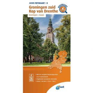 ANWB Regiokaart 8 Groningen zuid - Kop van Drenthe