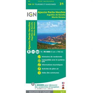 IGN Corsica: Ajaccio (31) - Porto Vecchio - Aiguilles de Bavella - Monte Renoso  - Wandel- en Fietskaart