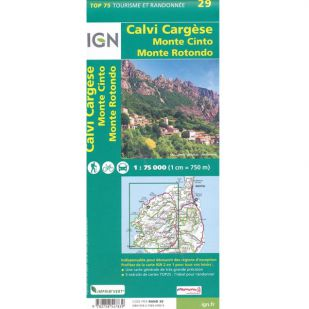 IGN Corsica (29): Calvi - Cargese - Monte Cinto - Monte Rotondo - Wandel- en Fietskaart !
