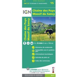 IGN Chaîne des Puys, Massif du Sancy, Auvergne (15)  - Wandel- en Fietskaart