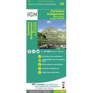 IGN Pyrenees Ariegeoises, Mont Valier, Pique d'Estats (20) - Wandel- en Fietskaart !