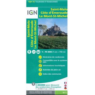IGN Normandie: Bretagne: Saint Malo - Côte d'Emeraude - Mont Saint-Michel (37) - Wandel- en fietskaart