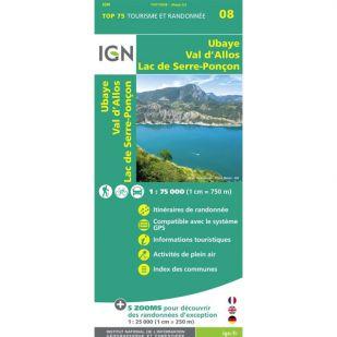 IGN Ubaye, Val d'Allos, Lac de Serre-Poncon (08) - Wandel- en fietskaart