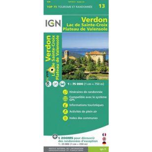 IGN Verdon (13), Lac de Sainte-Croix, Valensole  - Wandel- en Fietskaart