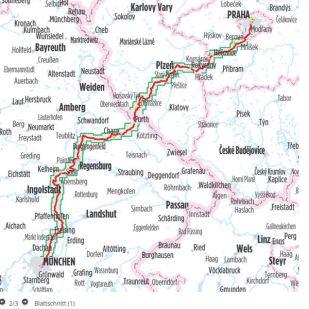Munchen/Regensburg - Praag  Bikeline Fietsgids